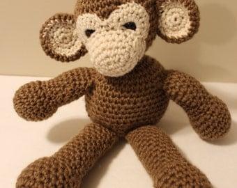 Crochet made to order MONKEY toy needlework handmade one of a kind stuffed animal- toddler baby child girls boys- safety eyes yarn play