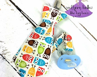 Owl baby gift etsy baby boy gift owl necktie pacifier clip personalized baby gift for boy owl baby negle Images