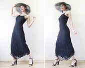 Vintage black puckered fitted strappy beaded maxi dress