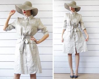 Vintage blue beige grey striped semi sheer linen viscose long sleeve belted summer shirt dress L