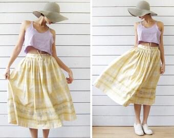 Austrian vintage yellow cotton tartan plaid pleated full circle folk midi skirt XS S