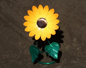 Yellow and Orange Mini Metal Sunflower