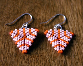 Soft Melon Pink and Bright Orange Striped Triangle Peyote Beaded Earrings