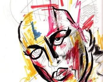 Original art: Sylvester portrait, 9x12, mixed media