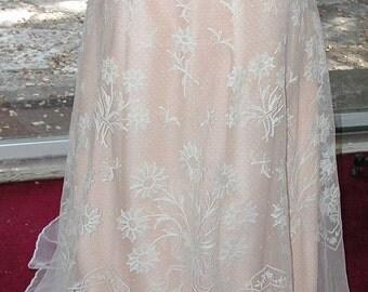 No. 500 ANTIQUE (1910) Edwardian Tambour Lace Bridal Skirt, Excellent Condition