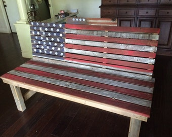 reclaimed american flag bench