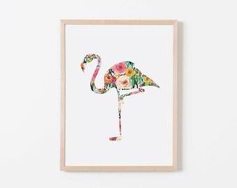 Floral Flamingo Nursery Art. Nursery Wall Art. Nursery Prints. Nursery Decor. Girl Wall Art. Floral Wall Art. Instant Download.