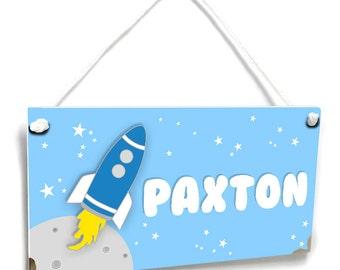 blue space themed kids door sign rocket bedroom nursery name wall plaque - P2123