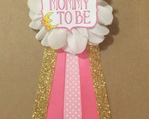 Pink Gold Moon and Stars Baby Shower Mommy-to-be Flower Ribbon Pin Corsage Glitter gold glitter mama mom mommy