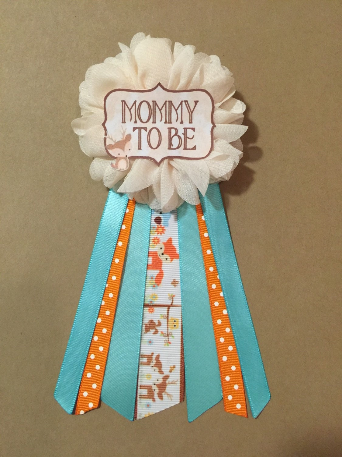 woodland animals teal orange baby shower pin mommy to be pin