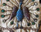 Antique peacock raised embroidery fragment beetlewing frags silk metallic 1880 for applique as found projects
