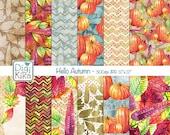 Fall Watercolor Digital Papers, Autumn, Pumpkin, Halloween Paper, Thanksgiving, Orange, Green, Red, Purple, Seasonal - INSTANT DOWNLOAD