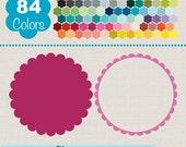 70% Sale Scallop Frames, Colorful Scallop Labels, Rainbow Scallop Labels Clip Art, Huge Clipart Pack - INSTANT DOWNLOADO