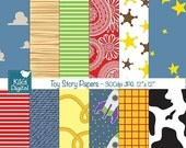 70% Sale Toy Story Inspired Digital Papers, Toy Story Scrapbook Papers - card design, invitations, background - INSTANT DOWNLOAD