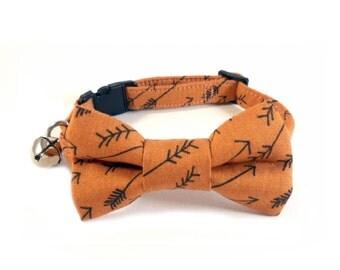 Cat / Small Dog Bow Tie Collar, Arrows in Copper