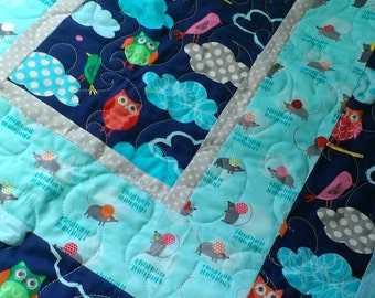 Handmade baby owl quilt: navy, grey and aqua owls with friendly mice and snails