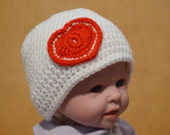 Valentine's Day, White Baby Hat, Crocheted Hat, 3 to 6 months