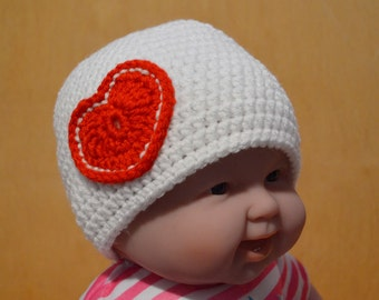 Valentine's Day, Baby Hat, Crocheted Baby Hat, 12 to 18 months