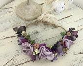 Lavender Flower Crown- well dressed wolf- flower hair wreath- boho Crown- Flower Girl Headband- blush Headband-Girls Headband-Hair Bo