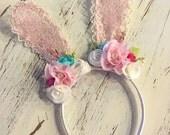 New- Bunny Ear Headband- Lace Bunny Ear Headband- Bunny Ears- Easter Headband- Couture Headband- Avry Couture