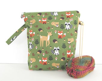 Knitting Project Bag - Medium Zippered Knitting Bag Wedge Knitting Tote in Forest Animals