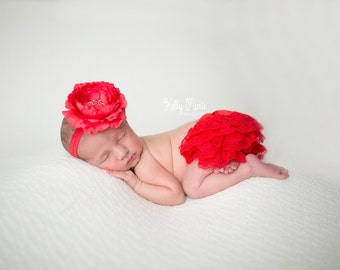 RED BLOOMER Set, Red Lace Bloomers, Newborn Bloomers, Baby Bloomers and Headband, Newborn Photo Prop, Baby Bloomers, Baby Bloomers Christmas