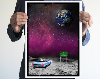 Looking at earth,digital print,art,space,astronaut,galaxy,artwork,handmade,wall decor,home decor
