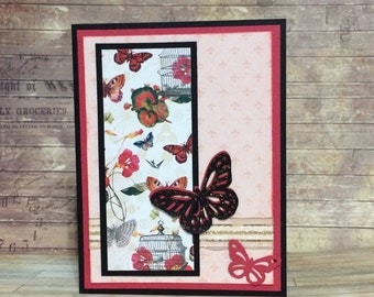 Blank card, All occasion card, Handmade card, Greeting Card, Butterfly