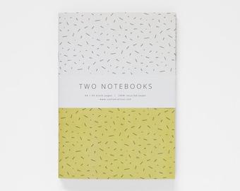 TWO NOTEBOOKS set II in A5 / mustard yellow notebook / geometric notebook / blank notebook