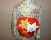SALE - 50%OFF!! Vintage obi - Maple leafs, Hand-painting, Shioze