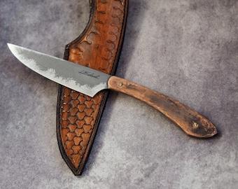 Custom fixed blade knife -   Custom EDC knife, copper scales, men's gift