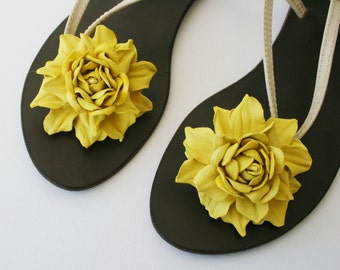 Lemon Yellow Leather Rose Flower Shoe Clips