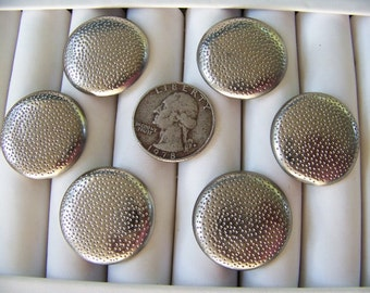 Set of 6 Big Vintage Silver Metal Buttons