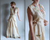 RESERVED FOR BONNIE//Rare 1930s Beach Pajamas 30s Tissue Silk Jumpsuit Dress Japanese Print Wide Palazzo Leg Pant