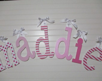 "NEW FONT - MADDIE - 12.00 per letter 8-1/2"", girl nursery, hot pink, baby pink, white, lowercase letters"