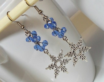 Snowflake Charm Earring Silver Snowflake With Blue Crystal Dangle Earring Winter Earring Snowflake Earring