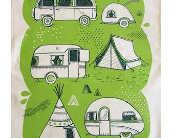 Caravan and camping tea towel