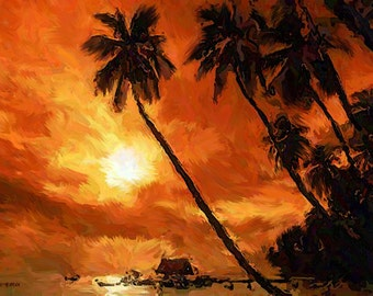 "CARRIBEAN ISLAND SUNSET Palm Trees Sea 16x20"" with mat frame. Painting on giclee canvas. Impressionism."