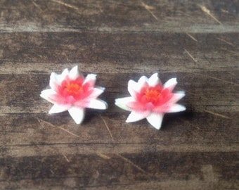 Lotus earrings jewelry water lily flower pink white botanical