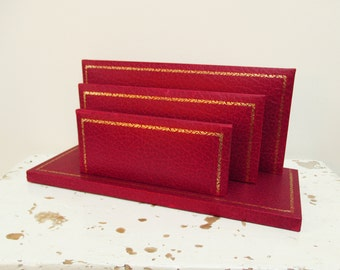 Vintage french mail organizer, Mail holder, Red leather rack, Mid century, 1950, Industrial, Office, France, Porte-courrier
