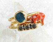 ON SALE Stacking rings - Druzy ring - Gold dipped - Gold nugget - Coral branch - Turquoise druzy