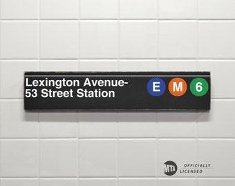 Lexington Avenue- 53 Street Station - New York City Subway Sign - Wood Sign