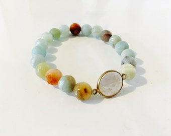 Faceted Amazonite and Mother of Pearl Bracelet