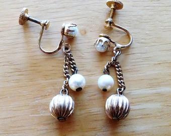 Vintage pearl earrings.