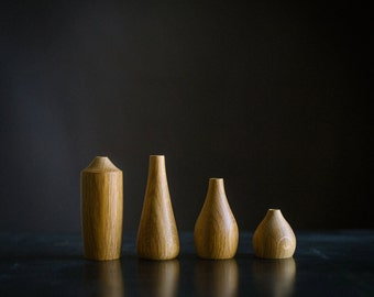 Set of Four White Oak Stick Vases