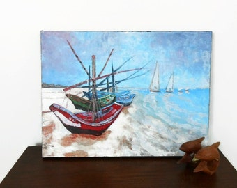 Sailboats Painting, Original Acrylic Painting, Seaside Wall Art, Stretched Canvas, Beach Decor