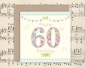 60th Birthday Card | 60th Birthday | Square card | Kraft envelope | Personalised 60th card | 60th Mum | 60th Gran | Vintage 60th card