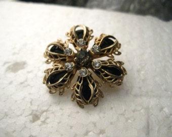 True Vintage Gold Tone Filigree Overlay Blossom Brooch, Black & Clear Stones, Mid-Century