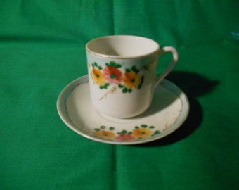 Three (3), Porcelain Demitasse Cups & Saucers, Marked NIPPON. Floral Pattern.