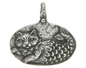 Green Girl Catfish Imagine 15/16 inch ( 24 mm ) Pewter Pendant Antique Silver Color